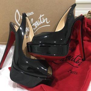 Christian Louboutin Black Stilettos(Burgundy Heel)